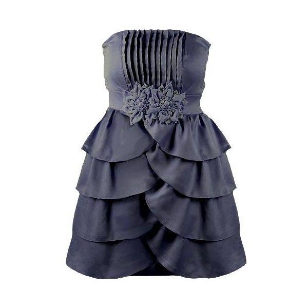 Scalloped Fête Dress ($40) ❤ liked on Polyvore featuring dresses, vestido, flower dress, scallop trim dress, blue flower dress, blue pleated dress and pleated dress