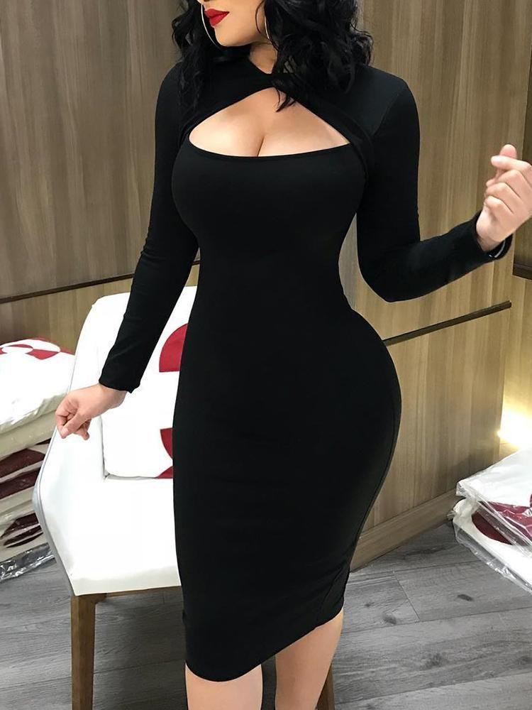 52399952a98226 Shop Geo Print Flare Long Sleeve Ruffle Hem Dress right now