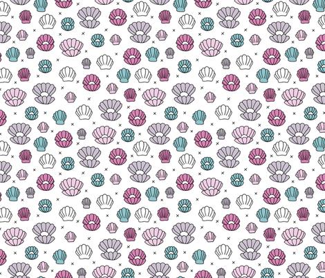Colorful Fabrics Digitally Printed By Spoonflower Deep Sea Shells And Pearls Mermaid Theme Ocean Shell Illustration Girls Pink Aqua On White Background Mermaid Theme Prints Illustration Girl