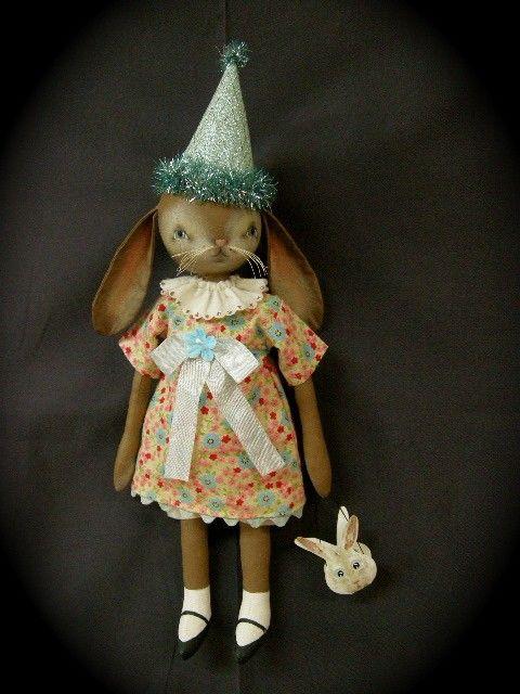Folk Art  Vintage Inspired Easter RABBITS by blackcrowprimitives