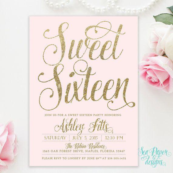 Blush Pink & Gold Glitter Girl Sweet Sixteen 16th Birthday Invitation - Shabby Chic Light Pink Pastel Party Invite Printed