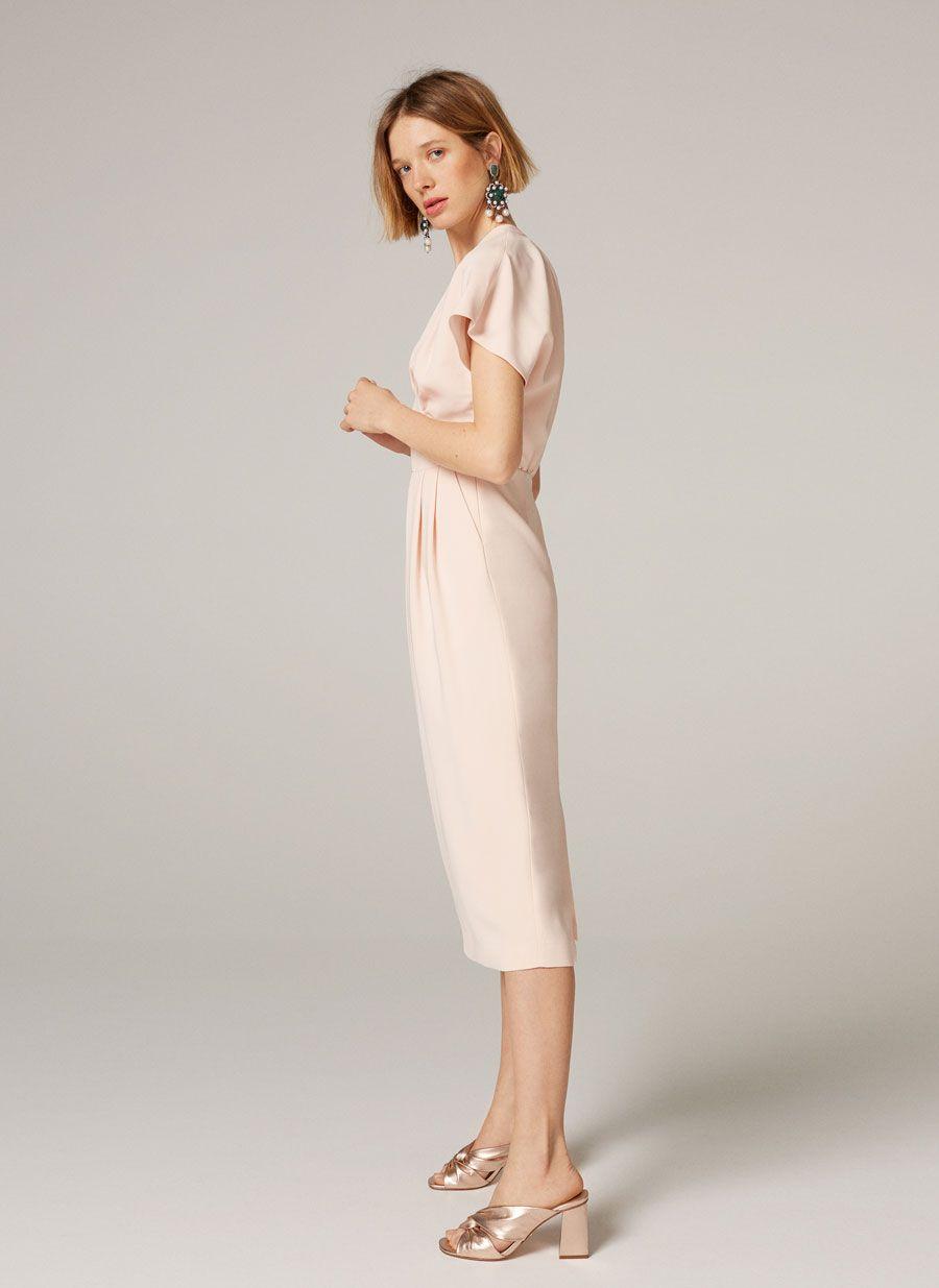 Vestido midi rosa palo - Vestidos y faldas - Colección - Uterqüe Mexico a8f33372af7c