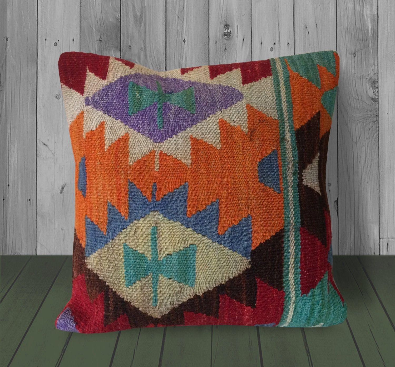 Orange Red Blue Southwestern Kilim Pillow Cover 16x16 Vintage