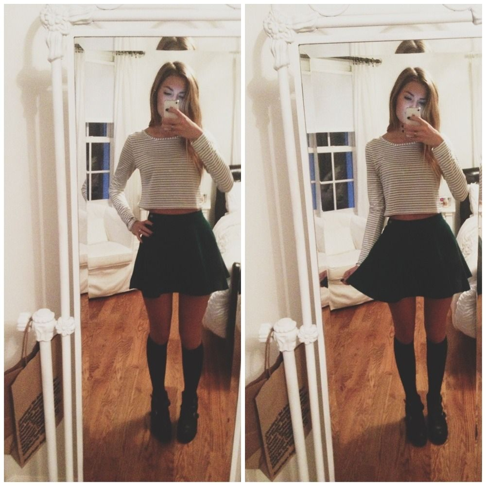 You know the drill ootd for school aa skirt urban knee socks