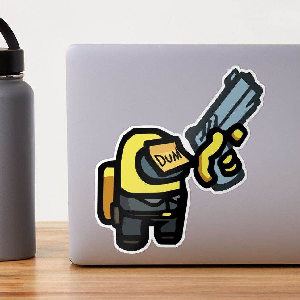 Among Us Dum Yellow Impostor Sticker By Enriquepma Yellow Stickers Hydroflask Stickers