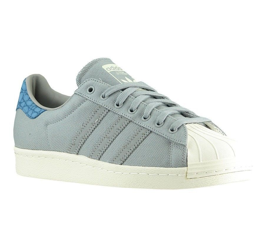 Adidas Originals Superstar 80s Animal Oddity Canvas Shell Toe Trainer Grey/ Blue