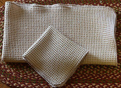 100 Organic Cotton Waffle Weave Natural Towel And Dish Cloth Set