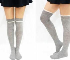 020b4e7a5 White Trim Sailor Knitted Knee High Socks - Light Grey