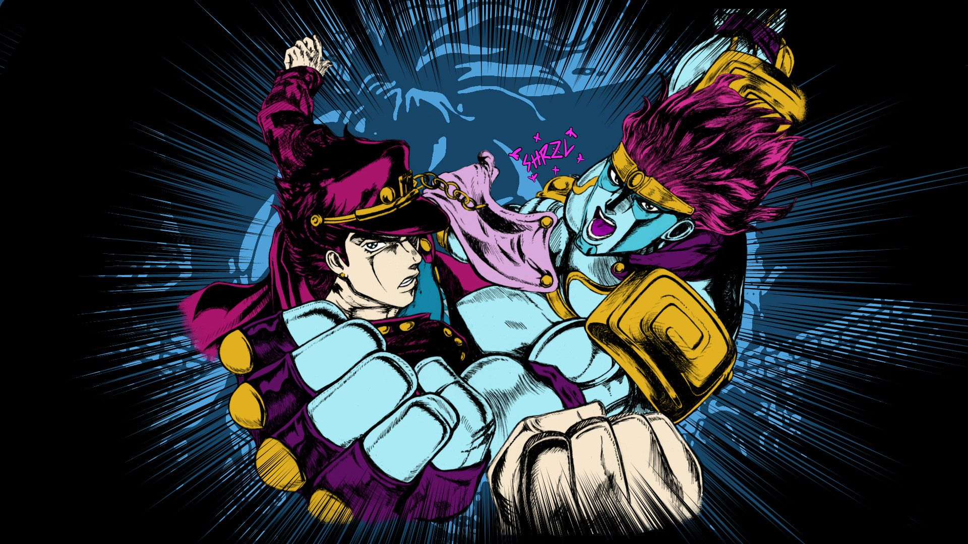 Res 1920x1080 Jotaro And Star Platinum Wallpaper By