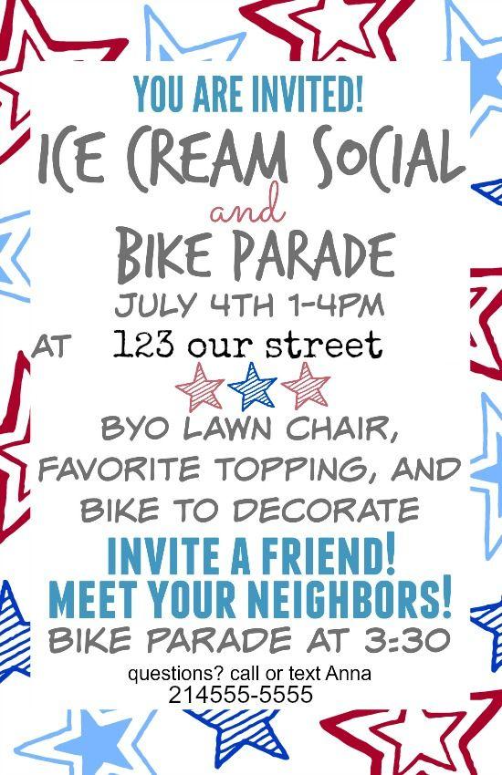 Fourth of july 2015 ice cream social and bike parade pinterest icecream social invitation sample blank printable available on lassothemoons blog stopboris Gallery