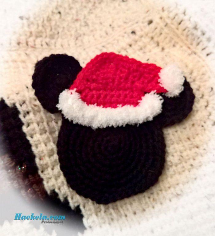 maus mit weihnachtsm tze h kelanleitung pinterest weihnachtsm tze h keln lernen und. Black Bedroom Furniture Sets. Home Design Ideas