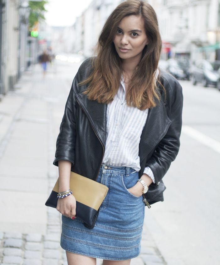Leather jacket and denim skirt | Style Inspiration | Pinterest ...