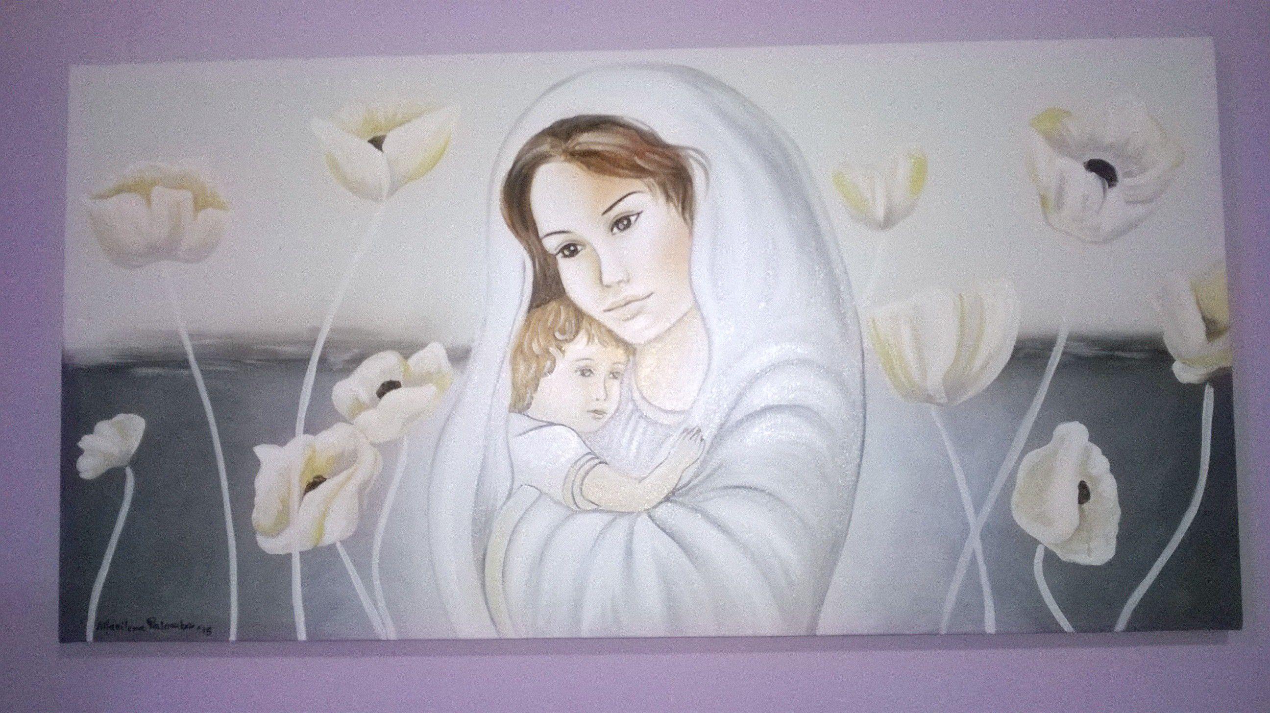 Capoletto Dipinto a mano,olio su tela, madonna con bambino, 40x80 cm