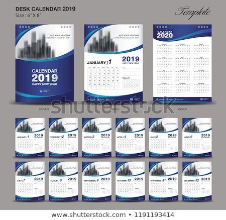 Desk Calendar 2019 year size 6 x 8 inch template, blue calendar 2019