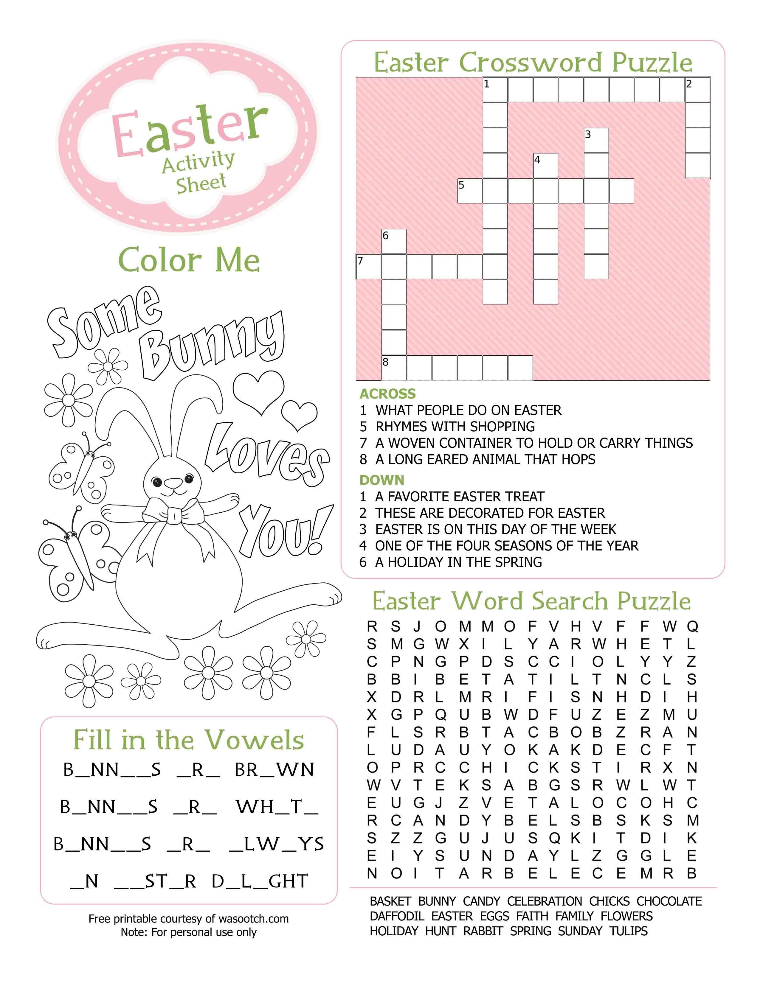 Crossword Puzzel Activity Sheet