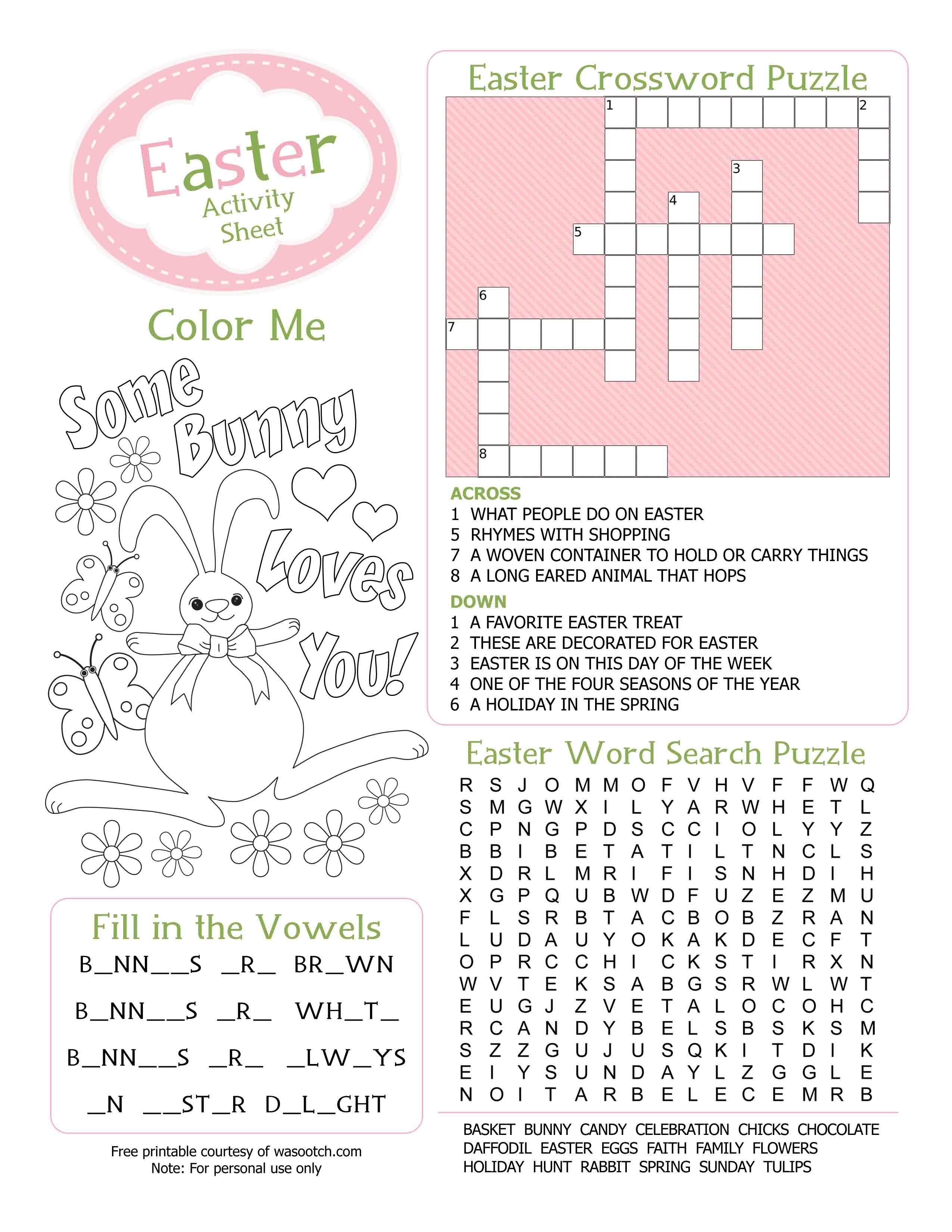 Crossword Puzzel Activity Sheet