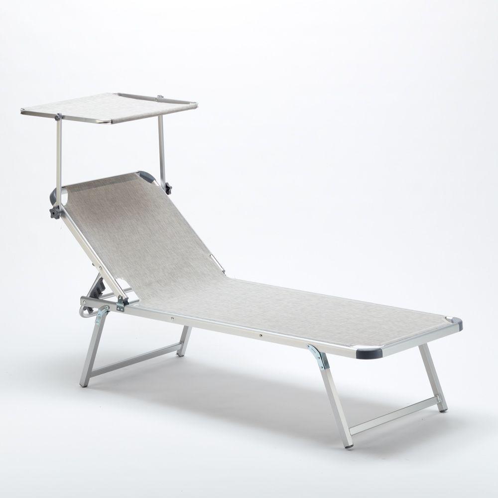 Bain De Soleil En Aluminium Pour Lq Plage Avec Parasol Reglable Nettuno Bain De Soleil Parasol Chaise Longue