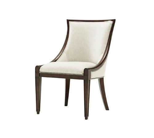 Scoop Back Chair Mahogany With Aged Pecan Finish Upholstered And Seat Nail Trim Detailing