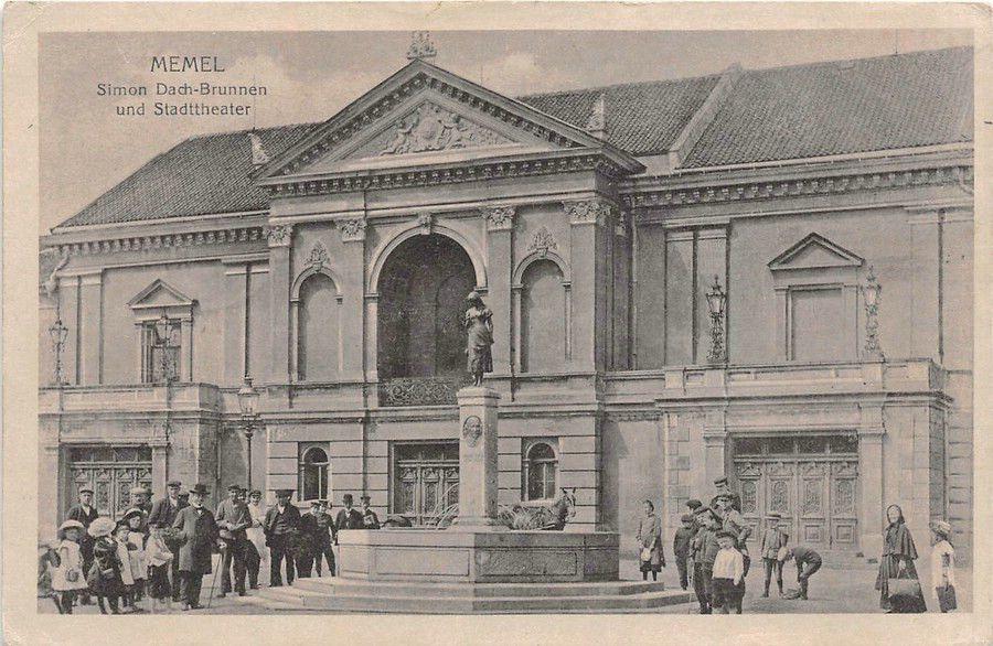 Memel Simon Dach - Brunnen Stadttheater Kinder 1916
