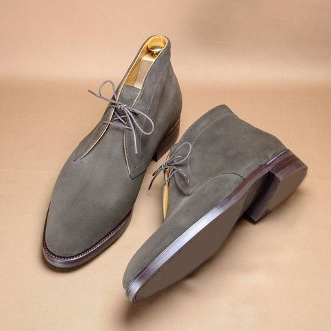 Handmade gray Boots, Hand stitched chukka suede Boots Men ankle high chukka boots, dress boots
