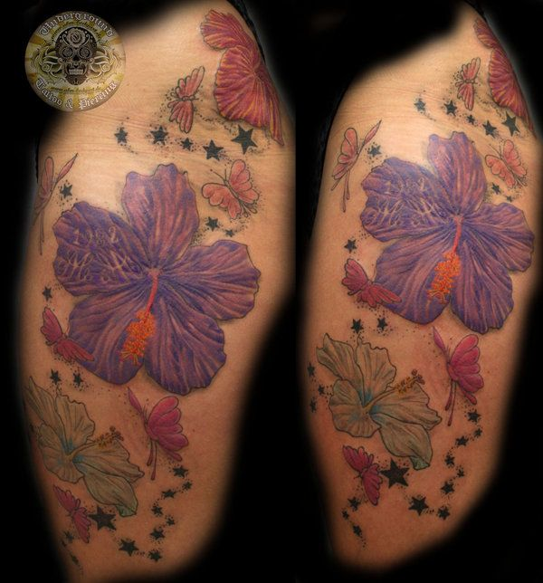 Butterfly Flowers color final by 2Face-Tattoo on DeviantArt