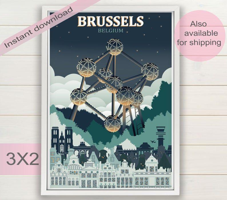 Artsandtravelprints artist brussels city print 5 eur