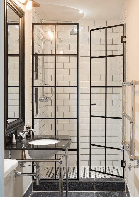 Black Steel Frame Shower Enclosure Basement Bathroom Design