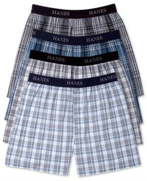 6 LOT Men/'s Checker Plaid Shorts Assorted Cotton Boxers Trunks Underwear