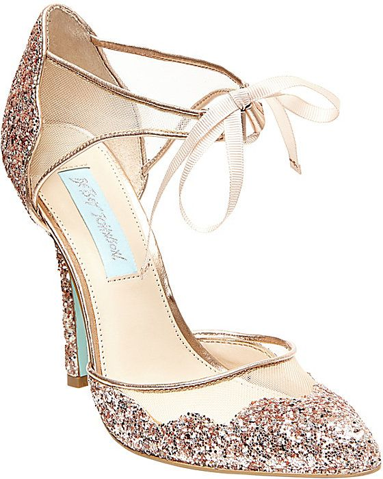 Blue by Betsey Johnson Champagne women's dress high ankle strap