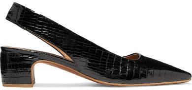54903c1e36e7 BY FAR - Danielle Croc-effect Patent-leather Slingback Pumps - Black ...
