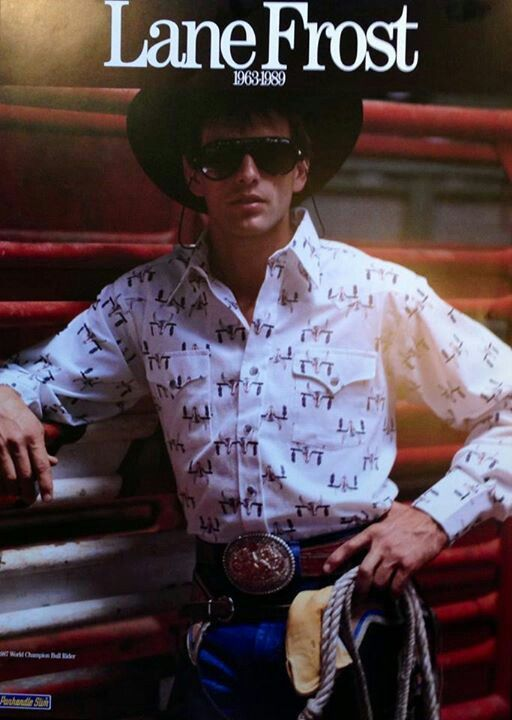 Lane Frost. My brother has this poster somewhere in his room. He looks a  lot like my dad in this one. Hmmmm.. 0b8db790281