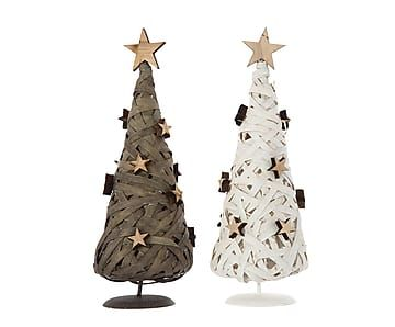 Set de 2 árboles de Navidad de madera Stars - altura 28 cm