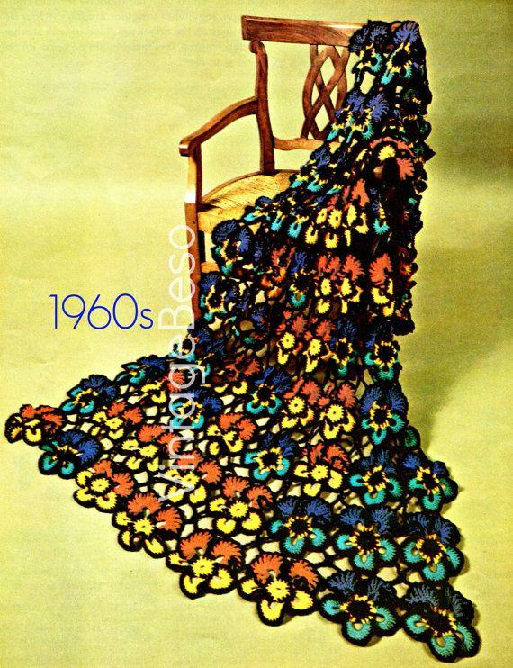 Instant Download Pdf Pattern Pansy Flower Afghan Crochet Pattern