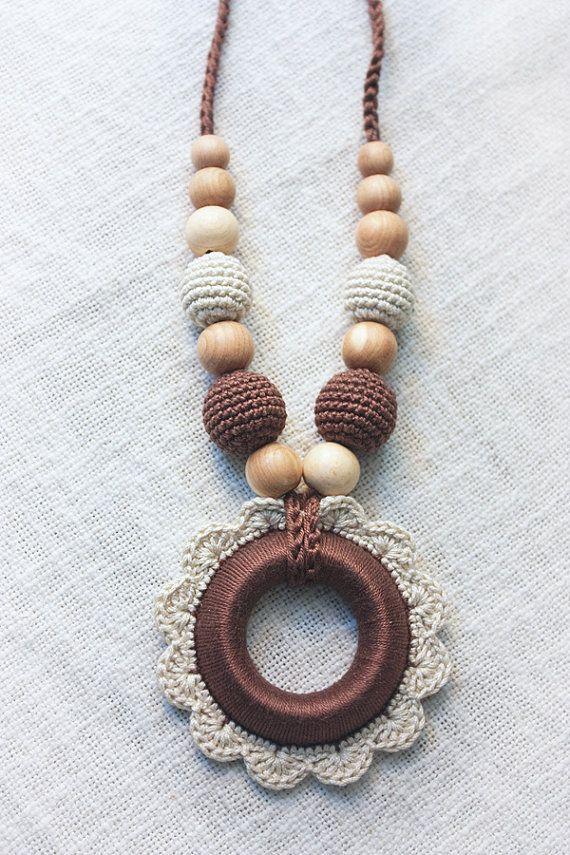 Nursing necklace for New Mom with Crochet flower Pendant - Wooden ...