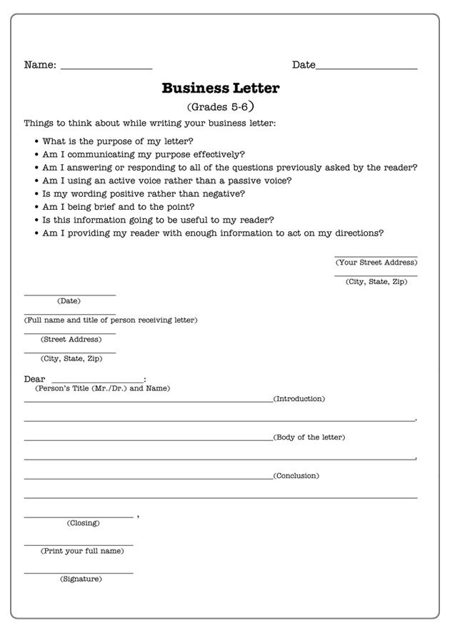 Business Letters  Letter Writing Worksheet For Th And Th
