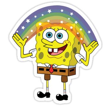 Spongebob Imagination Sticker By Kirkdstevens In 2021 Meme Stickers Bubble Stickers Snapchat Stickers