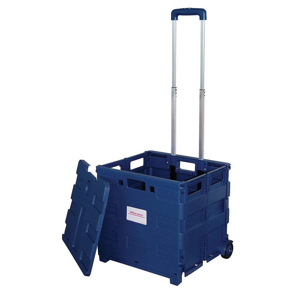 """Office Depot® Brand Mobile Folding Cart With Lid, 16""""H x 18""""W x 15""""D, Blue"""