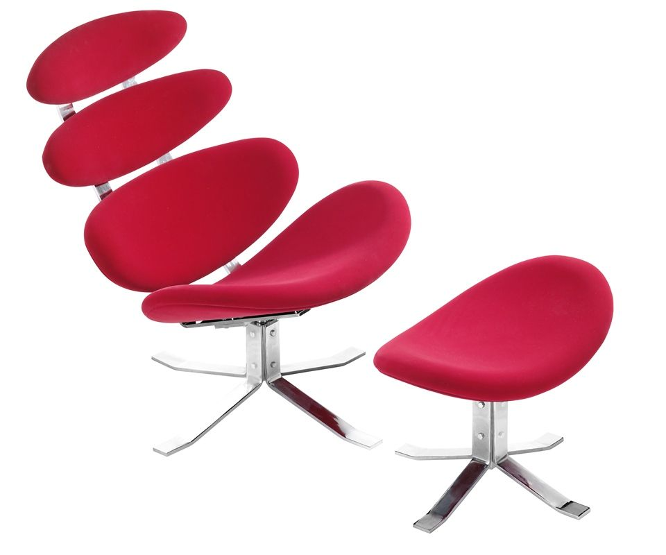 Velour Red Contemporary Lounge Chair W Ottoman E Age