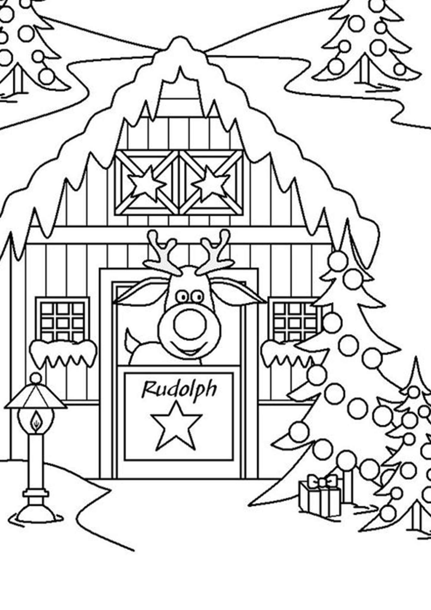 Rudolph The Red Nosed Reindeer Coloring Pages Printable Christmas Coloring Pages