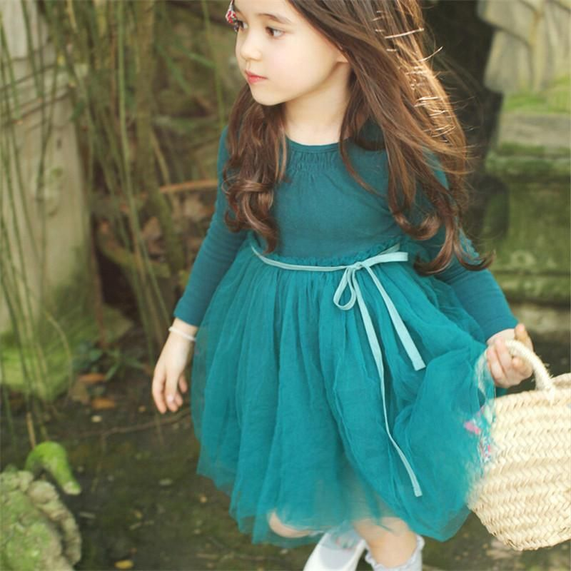 b135b497bd334 Korean Style Kids Girls Tulle Lace Dresses Baby Girl Spring Princess ...