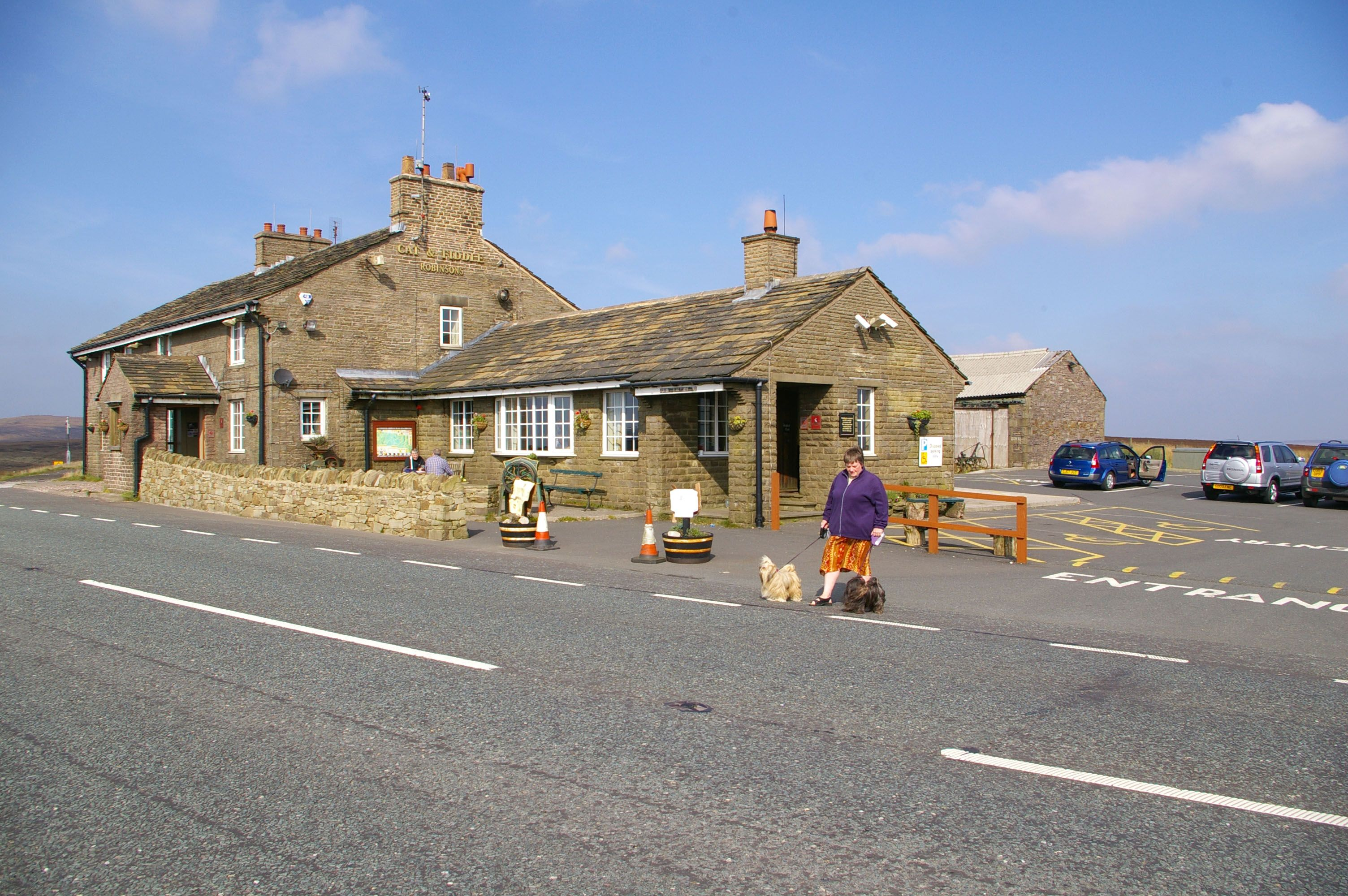 Cat and Fiddle pub, in Derbyshire Derbyshire, Wales