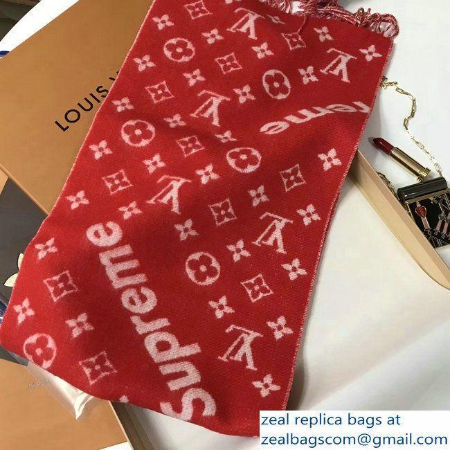 Louis Vuitton Supreme Cashmere Scarf Red 2021
