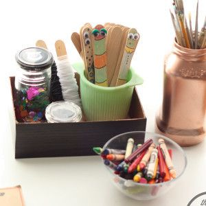 Recycled Box Desk Organizer | This easy recycled craft helps you organize your home or craft space.