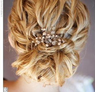LOVE  Anne had her usual stylist create her wedding day look. I have stick-straight, fine hair and she curled all of it into waves and pinned it into a low updo that perfectly matched the style of my dress, Anne explains. She accented the style with...