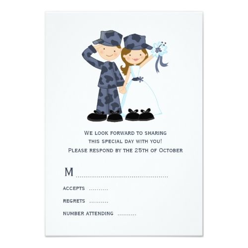 Military Wedding RSVP Cards Bride And Soldier In Blue Camouflage Card