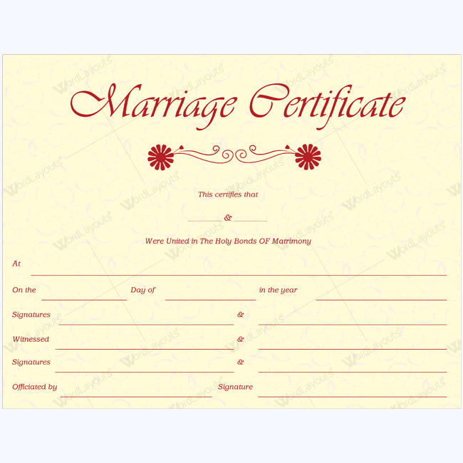 Elegant Marriage Certificate Template Wedding Marriage