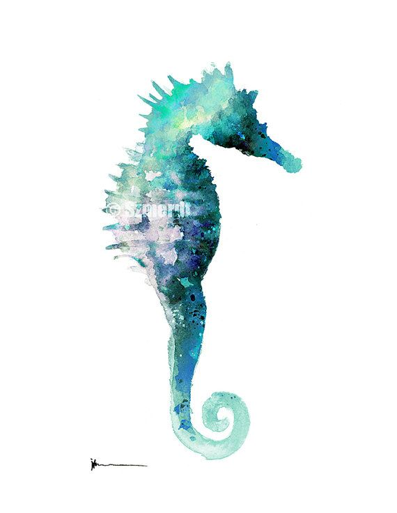 Sea Horse Watercolor Print Seascape Turquoise By Silhouetown With
