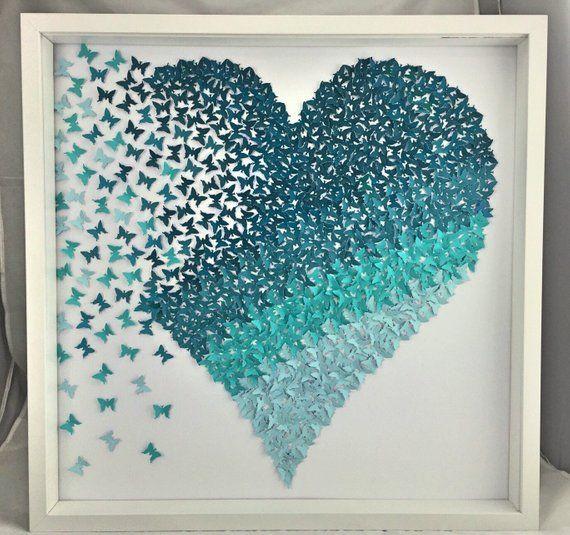 3D-Papier Kunst Schmetterling Herz | Schattierungen von Petrol Ombre Schmetterling Herz Wandkunst | Papier Schmetterlinge Wand Kunst Mädchen Zimmer |Papier Herz | Papier