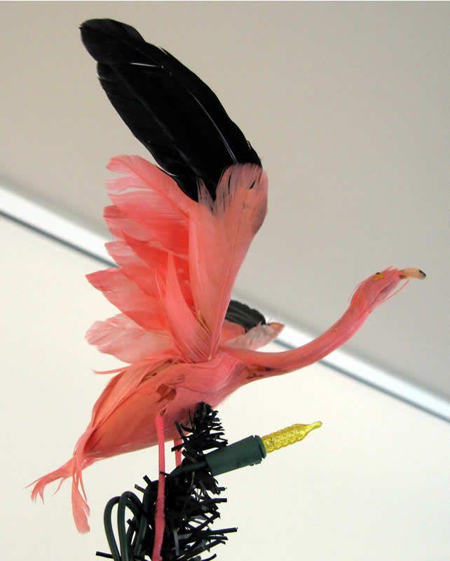 Hawaiian Christmas Tree Topper: Vintage Flamingo Tree Topper.