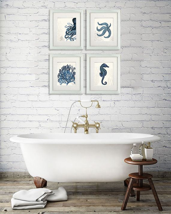 Nautical Bathroom Wall Art Set Of 4 Blue Nautical Art Prints Etsy Nautical Bathrooms Kid Bathroom Decor Bathroom Wall Art